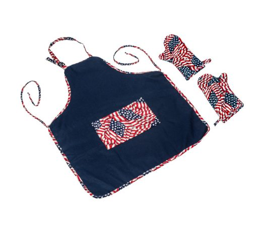 Blue Flame APGL.FL Apron Theme Apron in Navy with 2 Mitts